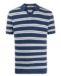 Camisa polo de rayas horizontales en azul marino y blanco de La Fileria For D'aniello
