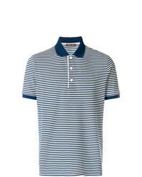 Camisa polo de rayas horizontales en azul marino y blanco de Loro Piana