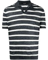 Camisa polo de rayas horizontales en azul marino y blanco de Tagliatore