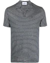 Camisa polo de rayas horizontales en blanco y azul marino de Dondup