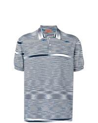 Camisa polo de rayas horizontales en blanco y azul marino de Missoni