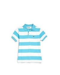 Camisa polo de rayas horizontales en turquesa