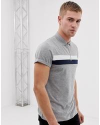 Camisa polo de rayas horizontales gris de ASOS DESIGN