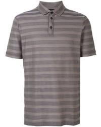 Camisa polo de rayas horizontales gris de Giorgio Armani