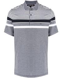 Camisa polo de rayas horizontales gris de Michael Kors Collection