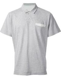 Camisa polo de rayas horizontales gris de Sacai