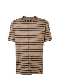 Camisa polo de rayas horizontales marrón claro de Lanvin