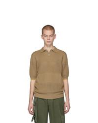 Camisa polo de rayas horizontales marrón claro de Marni