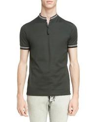 Camisa polo de rayas horizontales verde oscuro