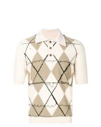 Camisa polo de rombos en beige de Maison Margiela