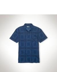 Camisa polo de tartán azul marino