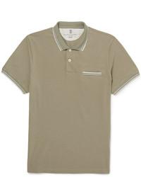 Camisa polo en beige de Brunello Cucinelli