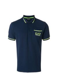 Camisa polo estampada azul marino de Ea7 Emporio Armani