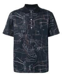 Camisa polo estampada azul marino de Ermenegildo Zegna
