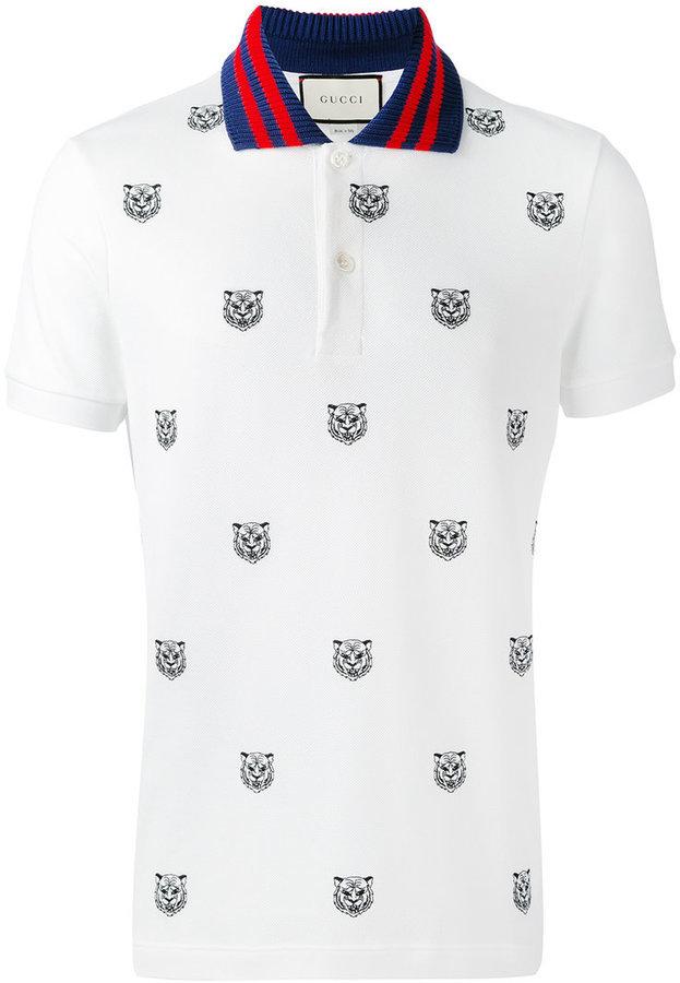 0987524e18 ... Camisa polo estampada blanca de Gucci