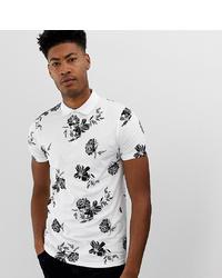 Camisa polo estampada en blanco y negro de ASOS DESIGN