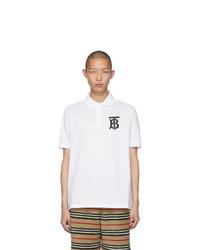Camisa polo estampada en blanco y negro de Burberry