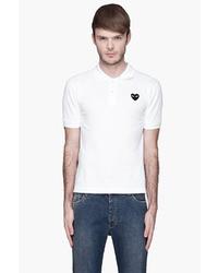 Camisa polo estampada en blanco y negro de Comme des Garcons