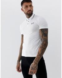 Camisa polo estampada en blanco y negro de EA7