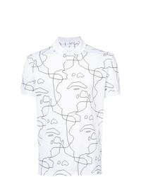 Camisa polo estampada en blanco y negro de Neil Barrett