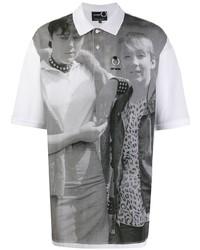 Camisa polo estampada en blanco y negro de Raf Simons X Fred Perry