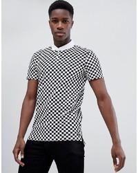 Camisa polo estampada en blanco y negro de Tom Tailor