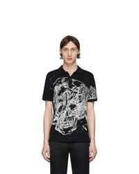 Camisa polo estampada en negro y blanco de Alexander McQueen