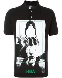 Camisa polo estampada en negro y blanco de Hood by Air