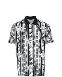 Camisa polo estampada en negro y blanco de Versace