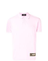 Camisa polo estampada rosada de DSQUARED2