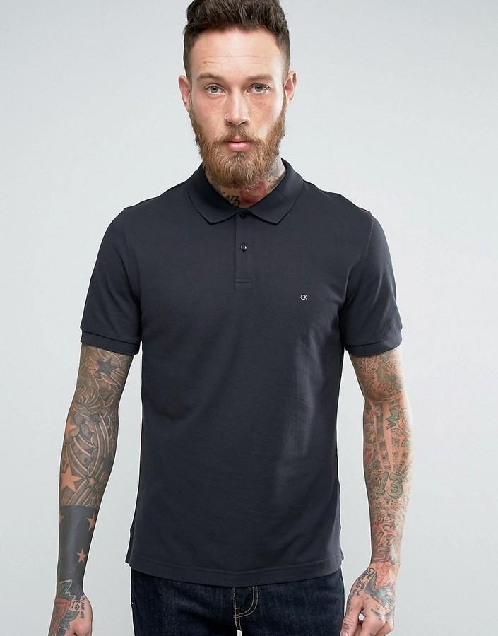 105c26ef8a3 ... Camisa polo negra de Calvin Klein ...