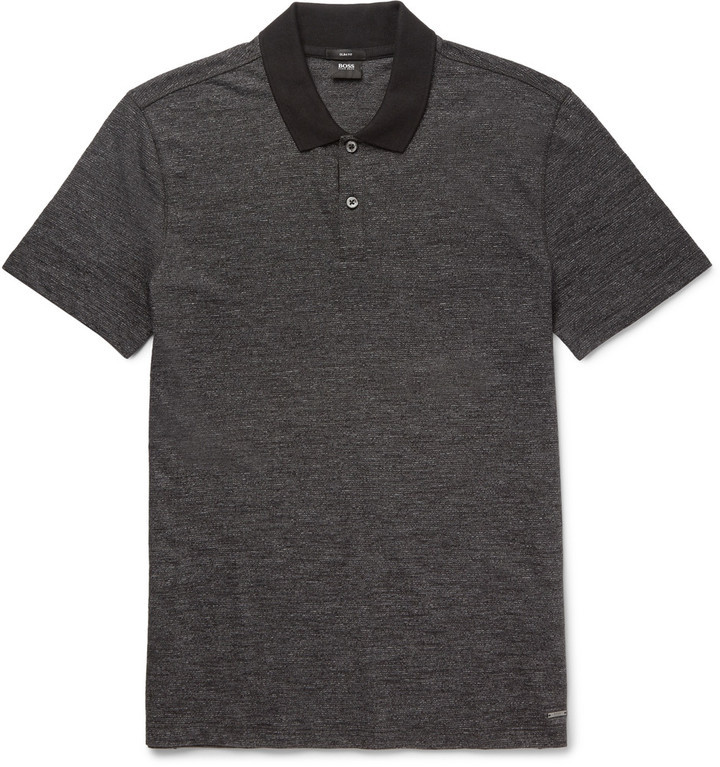 43a7fc24e8e69 ... Camisas polo negras Camisa polo negra de Hugo Boss ...