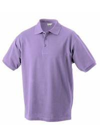 Camisa polo violeta claro de James & Nicholson