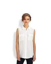 Camisa sin Mangas de Seda Blanca de Equipment