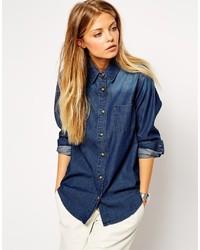 Camisa vaquera azul marino de Asos