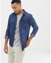 Camisa vaquera azul marino de Nudie Jeans