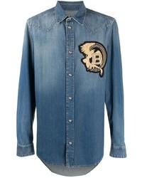Camisa vaquera bordada azul de Balmain