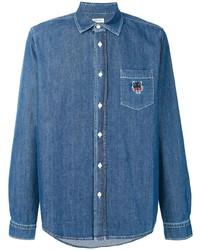 Camisa vaquera bordada azul de Kenzo