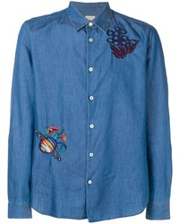 Camisa vaquera bordada azul de Paul Smith