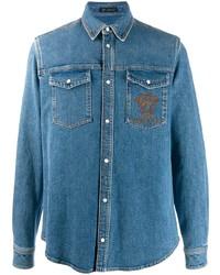 Camisa vaquera bordada azul de Versace