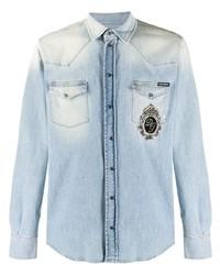 Camisa vaquera bordada celeste de Dolce & Gabbana
