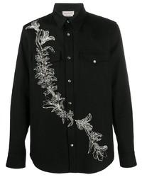 Camisa vaquera bordada negra de Alexander McQueen