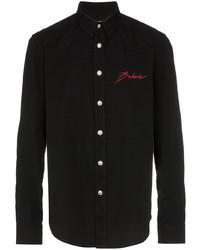 Camisa vaquera bordada negra de Balmain