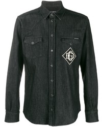 Camisa vaquera bordada negra de Dolce & Gabbana