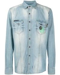 Camisa vaquera celeste de Philipp Plein