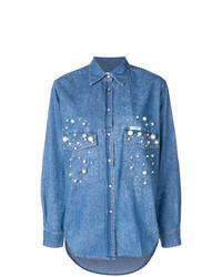 Camisa vaquera con adornos azul de Forte Dei Marmi Couture