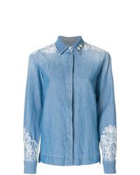 Camisa vaquera con adornos celeste de Ermanno Scervino