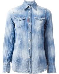 Camisa vaquera con lavado ácido celeste de Dsquared2