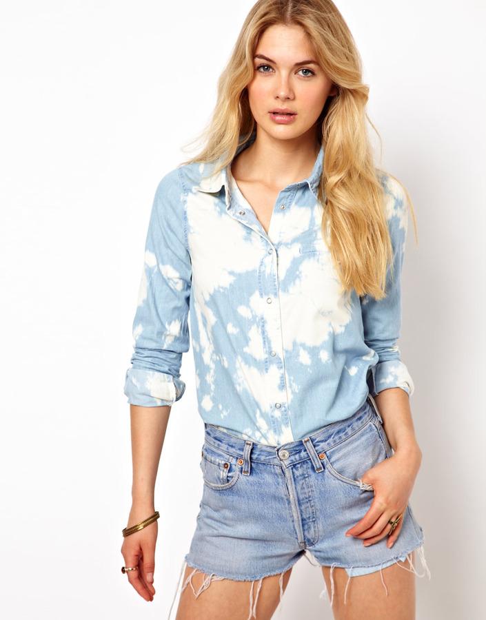 Camisa vaquera con lavado ácido celeste de Vila