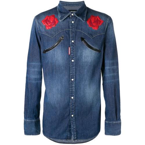 Camisa vaquera con print de flores azul de DSQUARED2